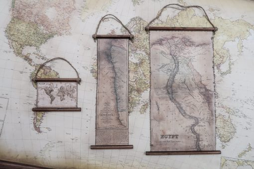 Bundle of 3 maps: Egypt & Lyberia and World map ready to hanged
