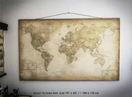 vintage world map hangged