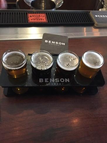 Beer flight at Benson Brewery