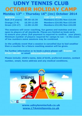 Junior October Holiday Camps 2014-001