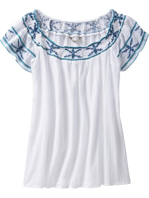 Old Navy embroidered gauze top