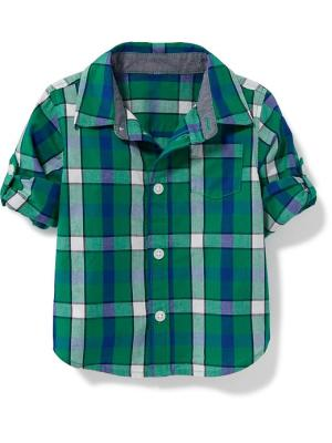 Old Navy Plaid Roll Sleeve Shirt For Baby Size 18-24 M - White/green plaid
