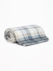 Old Navy Womens Patterned Performance Fleece Blanket Gray Plaid Size One Size