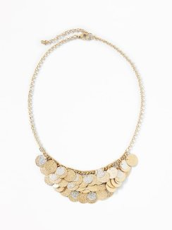 Old Navy Womens Glitter-Coin Cluster Necklace For Women Mix Metal Size One Size
