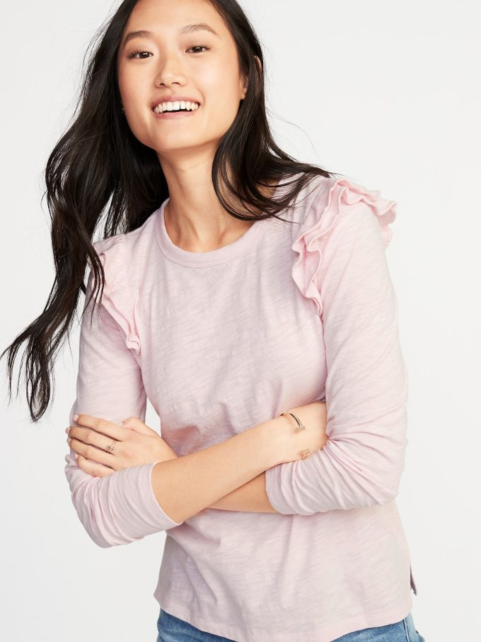 Ruffle-Trim Slub-Knit Top for Women
