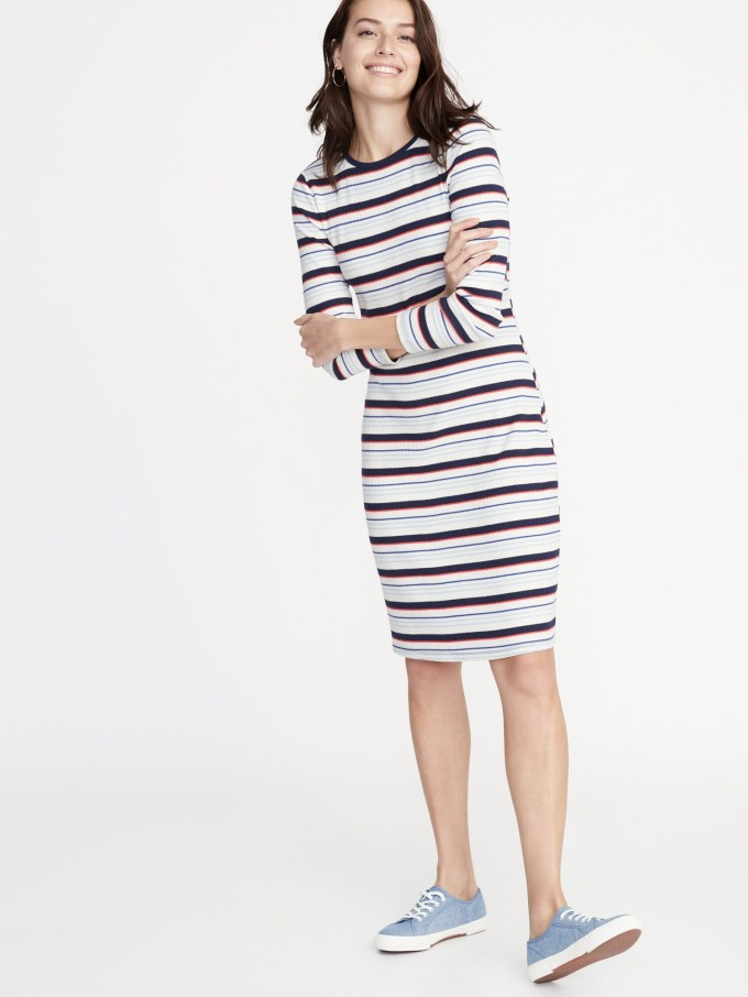 Fitted Rib-Knit Shift Dress for Women