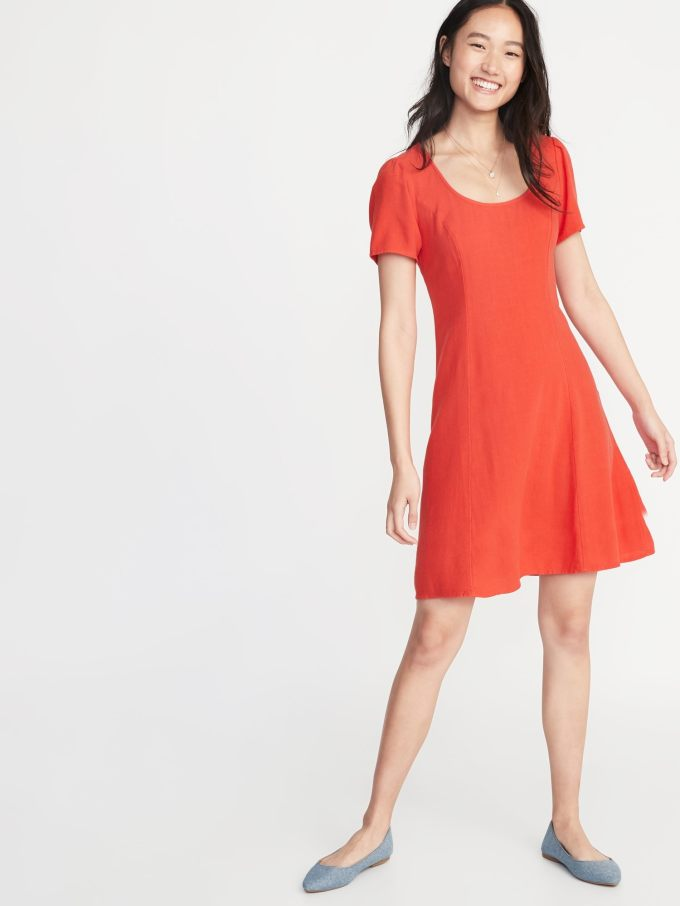 Linen-Blend Fit & Flare Dress for Women