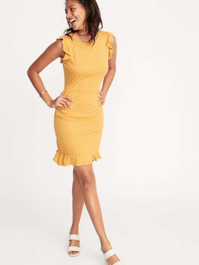 Ruffled Ponte-Knit Sheath Dress for Women