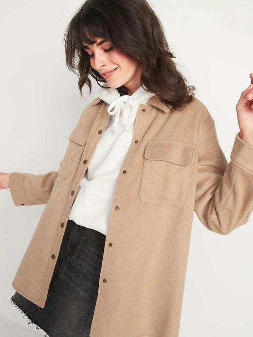 Soft-Brushed Utility Shirt Jacket for Women