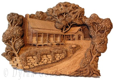 sepia toned pictorial relief carving of the classic american farmhouse with a barn in the background
