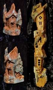 collage of Cottonwood Bark Houses carved by Dylan Goodson