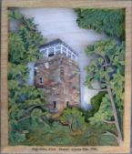 pictorial relief scene of the Flagg mountain fire lookout tower in coosa county alabama carved from basswood, painted