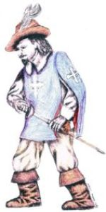 Drawing of a French Musketeer