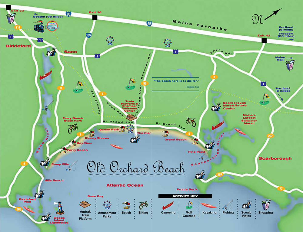 old orchard beach maine directions and maps. Black Bedroom Furniture Sets. Home Design Ideas