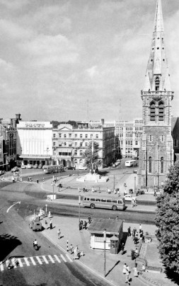 View of the north end of Cathedral Square including Cathedral Tower and the Press Buidling