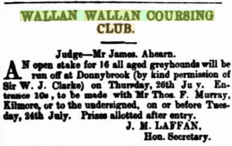 Wallan Coursing Club Meeting. Kilmore Free Press - July 19th, 1883