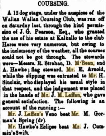 Wallan Coursing Club Meeting. Kilmore Free Press - May 20th, 1880