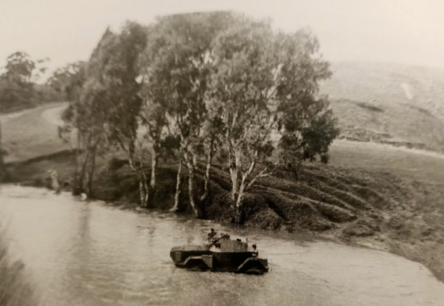 A photo from 1946 shows an amphibious vehicle crossing the Deep Creek in the same place that Cornelius Francis drowned
