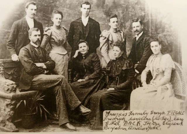 The Francis Family in 1888. Mrs Francis is seated in the centre, with daughter Mary Ann to her right. The others from the left are Henry, Frederick, Elizabeth, Benjamin, Amelia, John and Ethel.