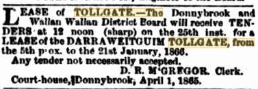 The Argus – 4th April, 1865. Lease of tollgate for tender.