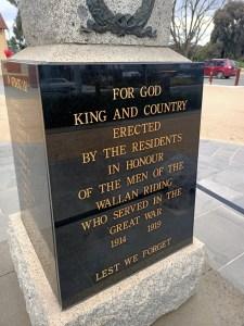 West side of Wallan War Memorial