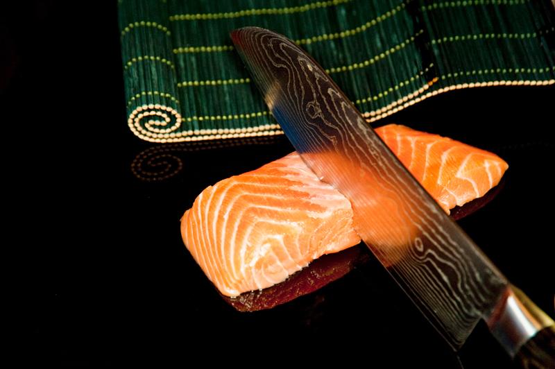 chopping cutting salmon