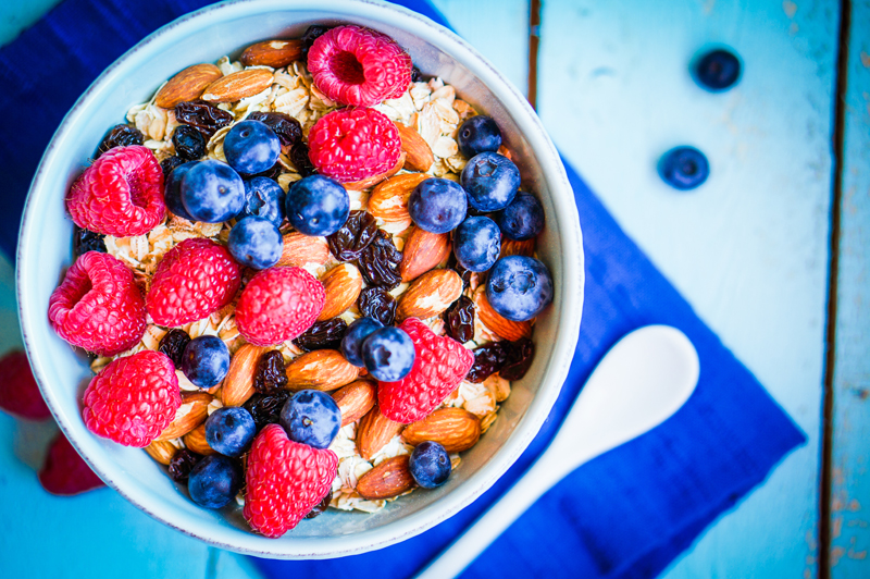 gut health - bran fiber cereal with blueberries and nuts