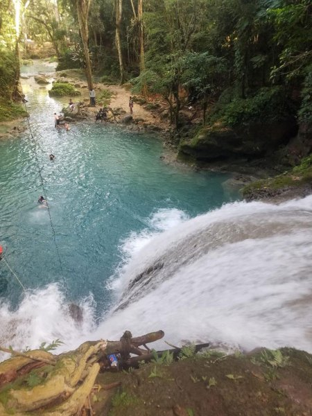 jumping off waterfall
