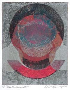 "Mystic Morcasite. By Evangeline ""EJ"" Montgomery. Monoprint etching, 2013. Ed. 1/1"