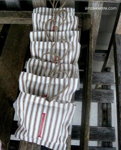 Ticking Pillow Ornaments | oldsaltfarm.com