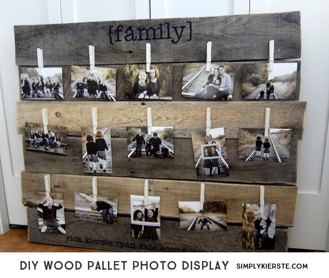DIY Wood Pallet Photo Display| oldsaltfarm.com