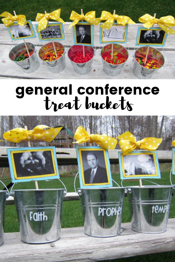General Conference Treat Buckets | Conference ideas for Kids