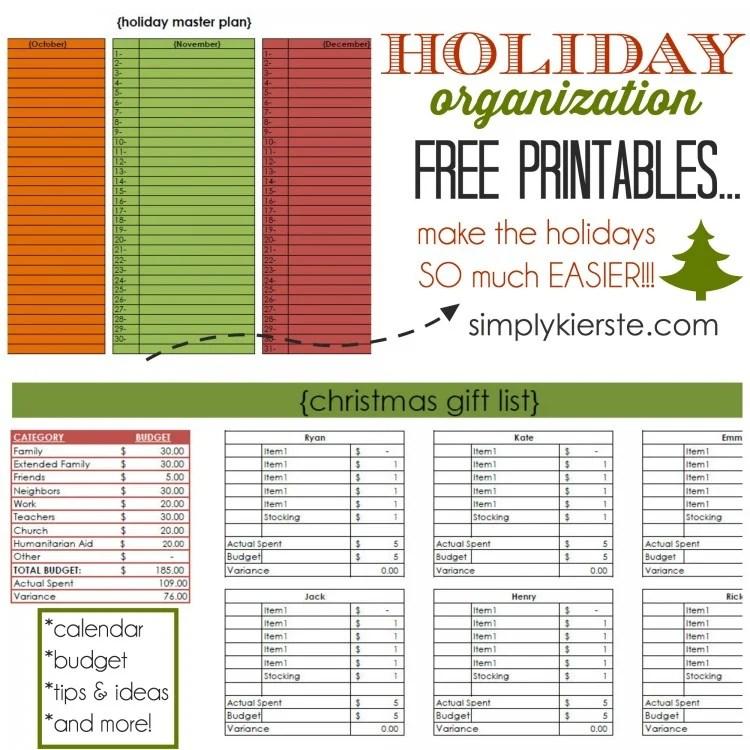 Holiday Organization Free Printables   oldsaltfarm.com