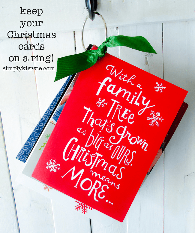 Keep your Christmas cards on a ring! | Easy Organization | oldsaltfarm.com