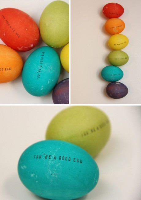 Stamped Eggs | Easter Egg Ideas for Kids | oldsaltfarm.com