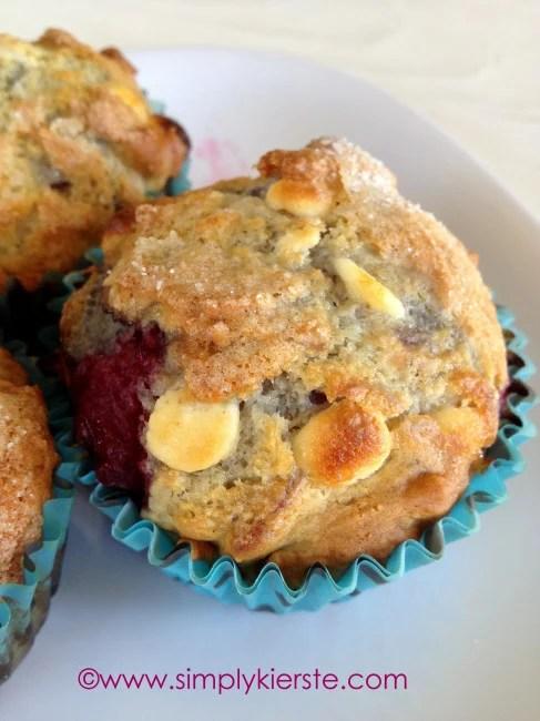 Skinny Raspberry & White Chocolate Muffins | oldsaltfarm.com