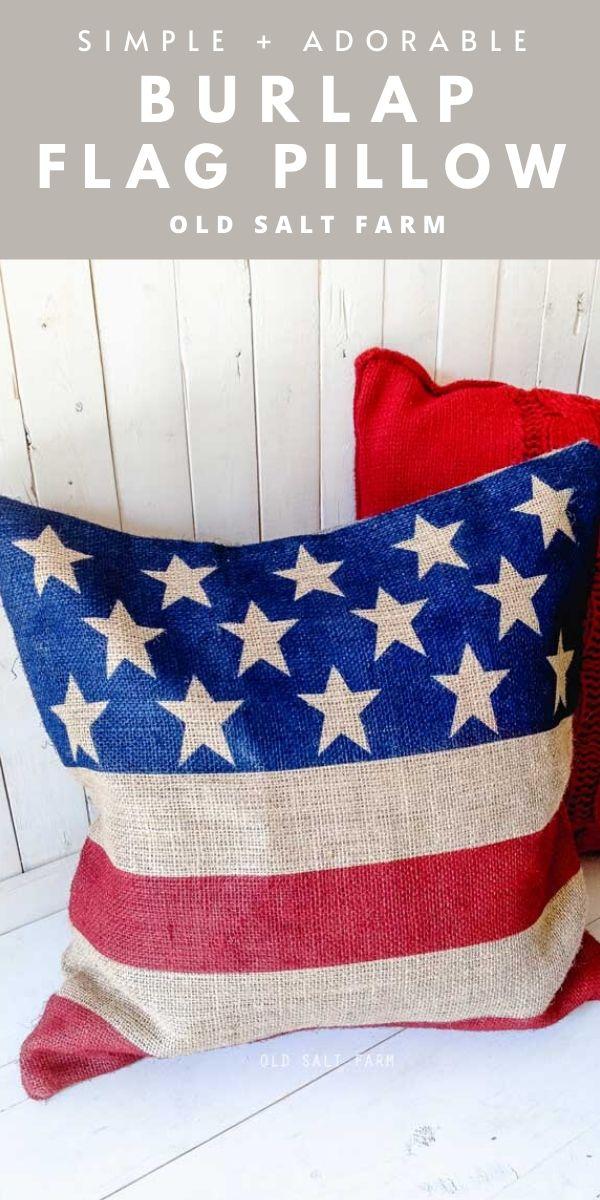 Burlap Flag Pillow