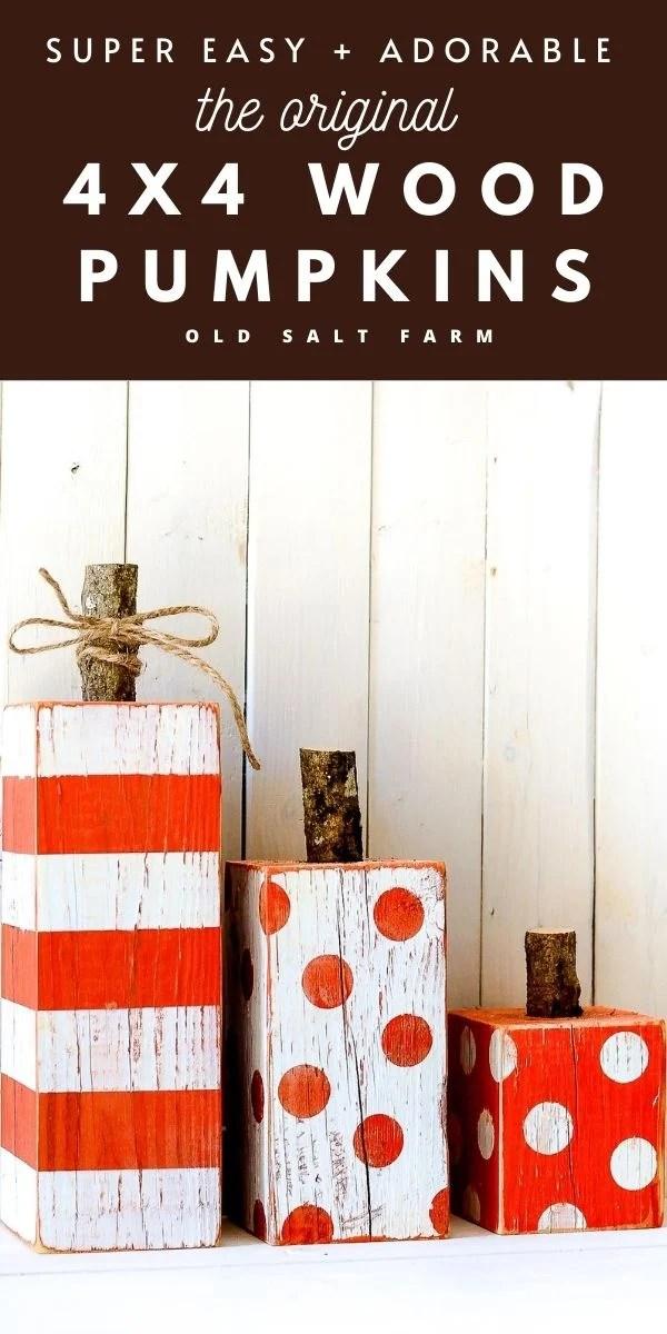 4x4 Striped & Polka Dot Wood Pumpkins
