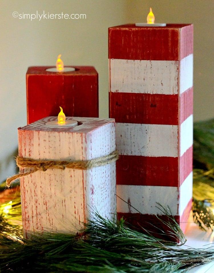 peppermint striped candlesticks | oldsaltfarm.com