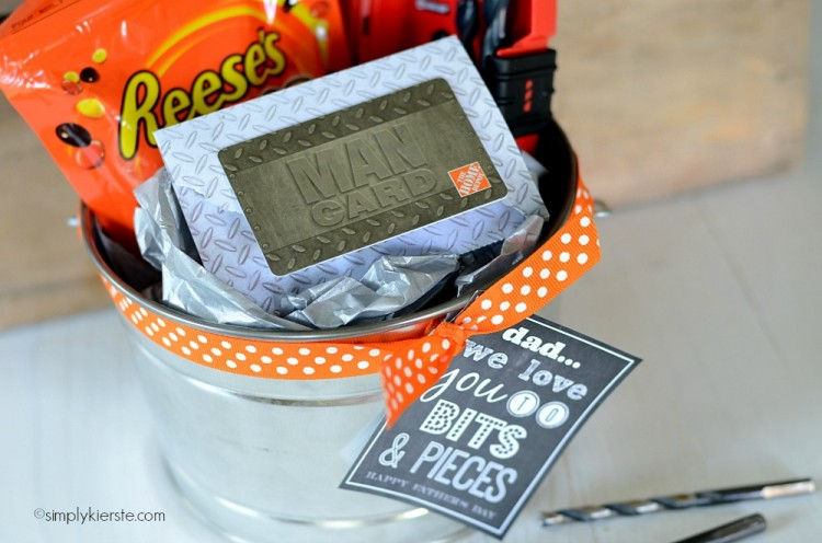 "Home Depot Gift Card + Drill Bits + Reeses Pieces = ""We Love You to Bits & Pieces"" Father's Day Gift (FREE PRINTABLE) 