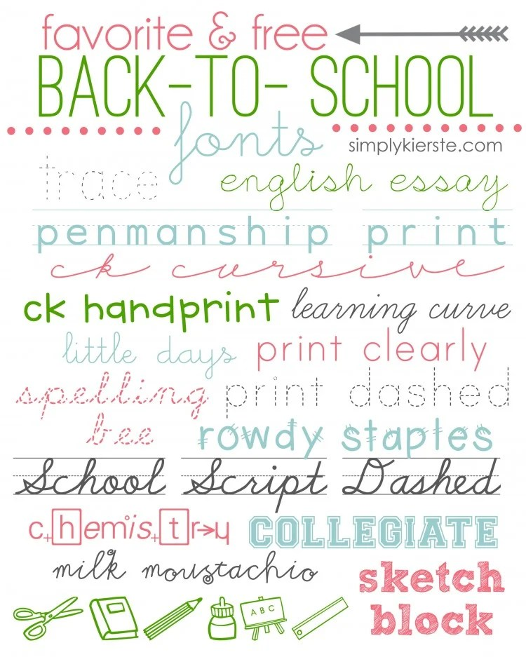 favorite & free back-to-school fonts | oldsaltfarm.com