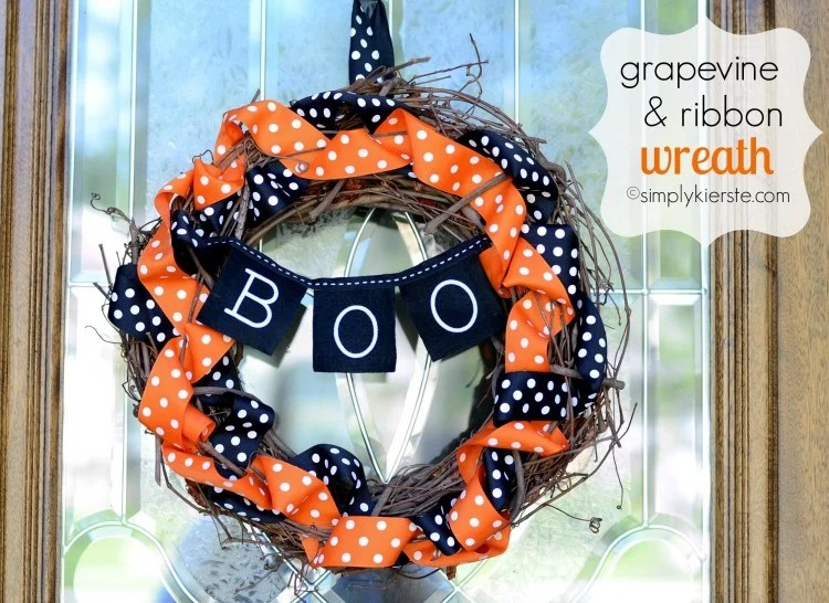 Halloween Grapevine & Ribbon Wreath | oldsaltfarm.com