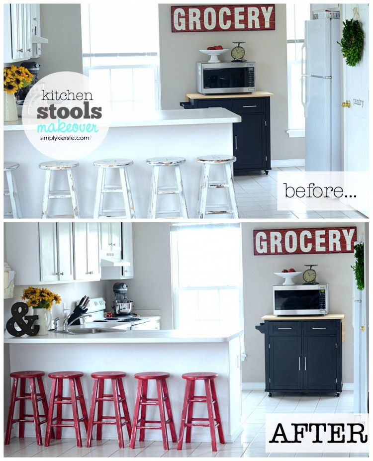 Kitchen Stools Makeover with Glidden | oldsaltfarm.com