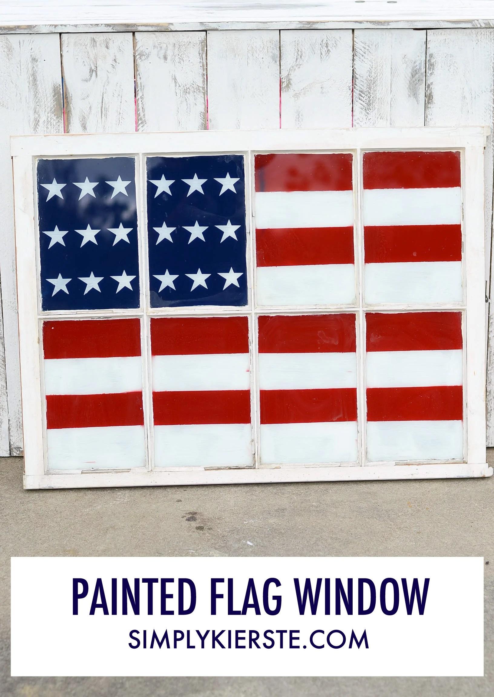Painted Flag Window   4th of July   oldsaltfarm.com
