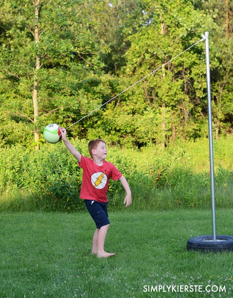 Backyard fun: Make your own DIY Tetherball set for half the cost! | oldsaltfarm.com