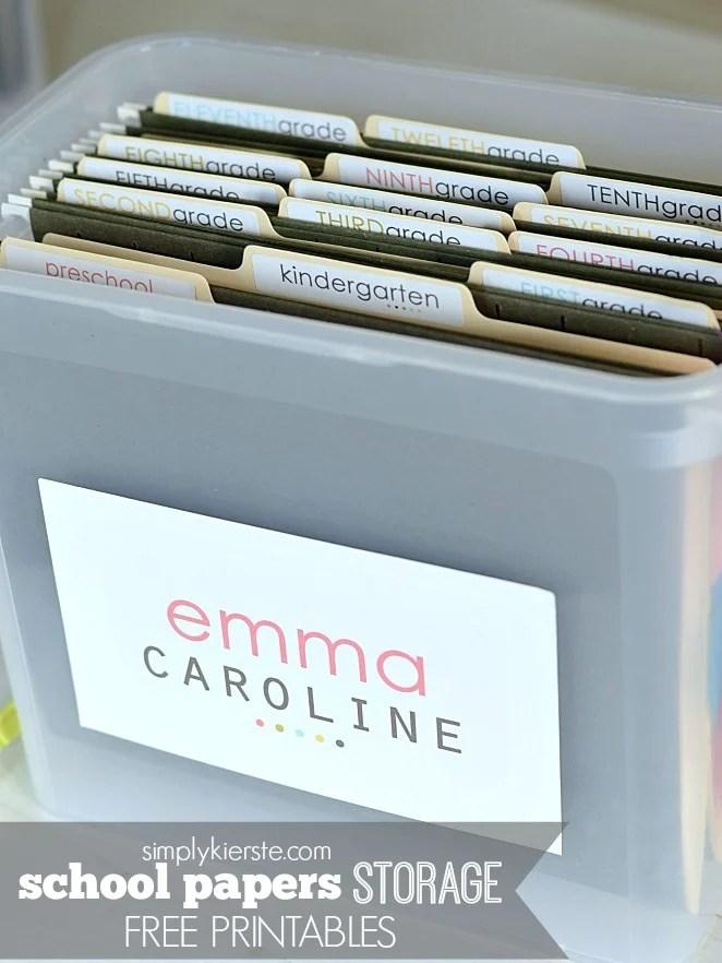 School Papers Storage | FREE printables | oldsaltfarm.com