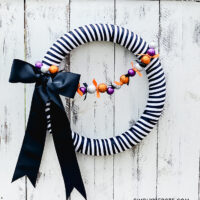 DIY Black & White Striped Halloween Wreath