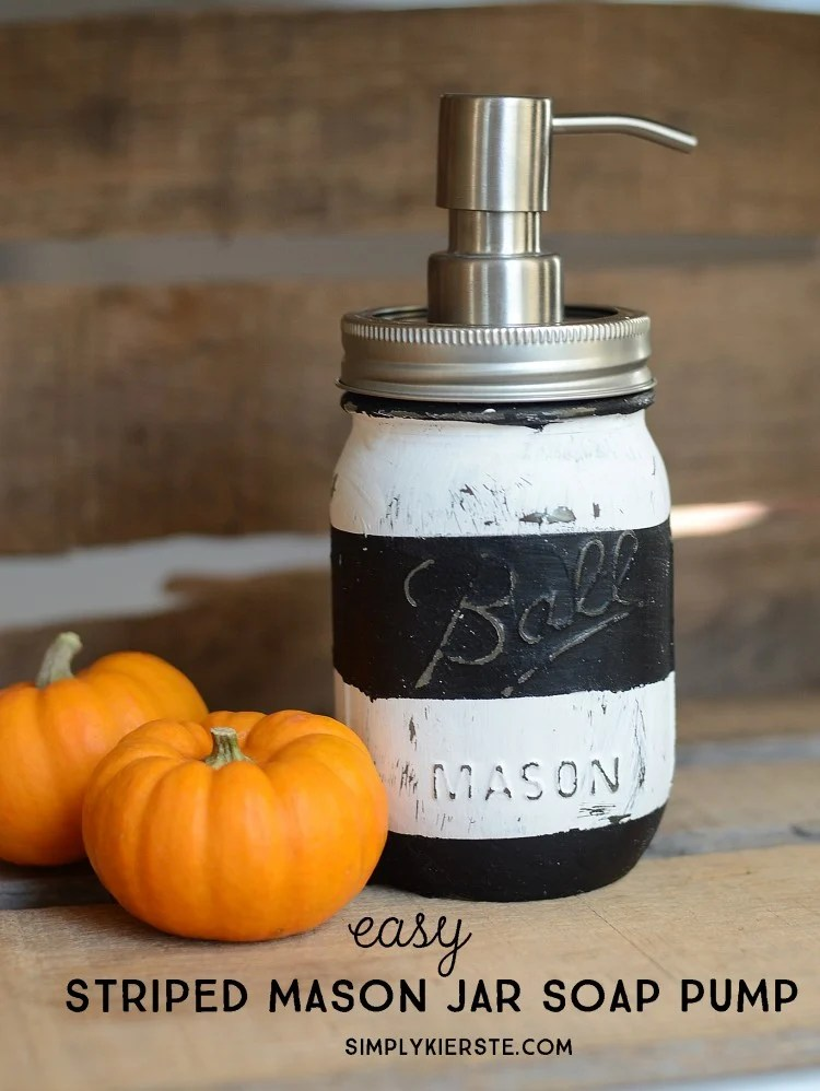 DIY Striped Mason Jar Soap Pump | oldsaltfarm.com