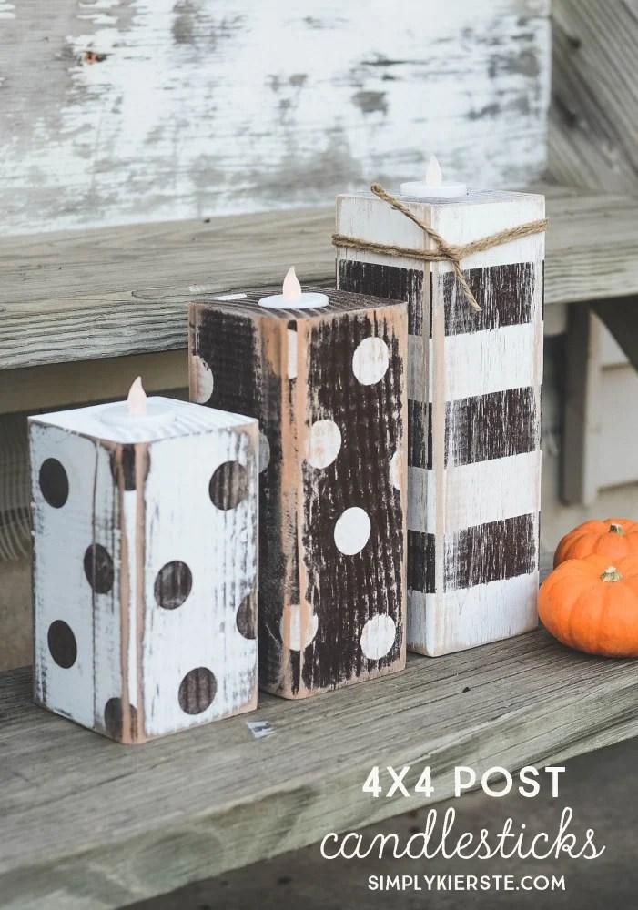 4x4 Post Striped & Polka Dot Candlesticks   oldsaltfarm.com