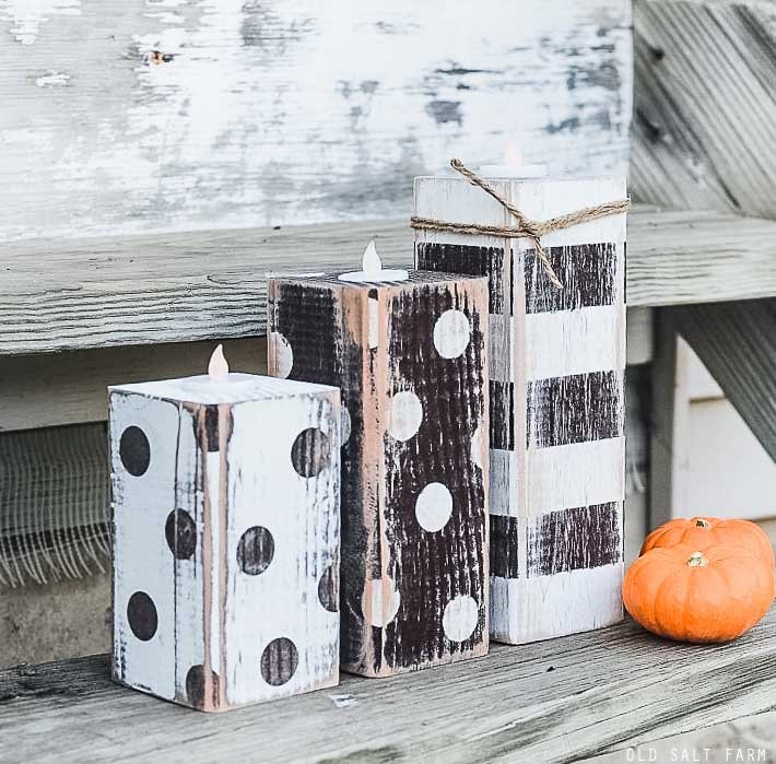 Striped & Polka Dot Fall Wood Candlesticks